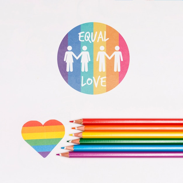 Gay pride background with colored pencils Free Psd
