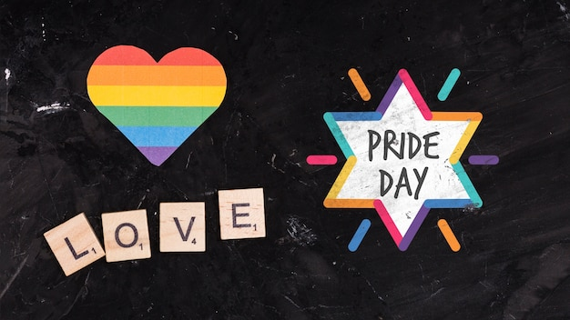 Gay pride background with a heart Free Psd
