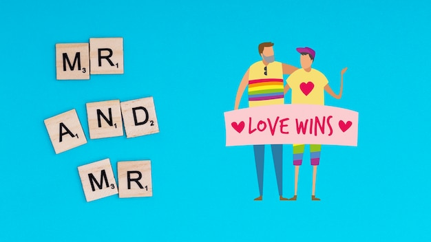 Gay pride background with a homosexual couple Free Psd