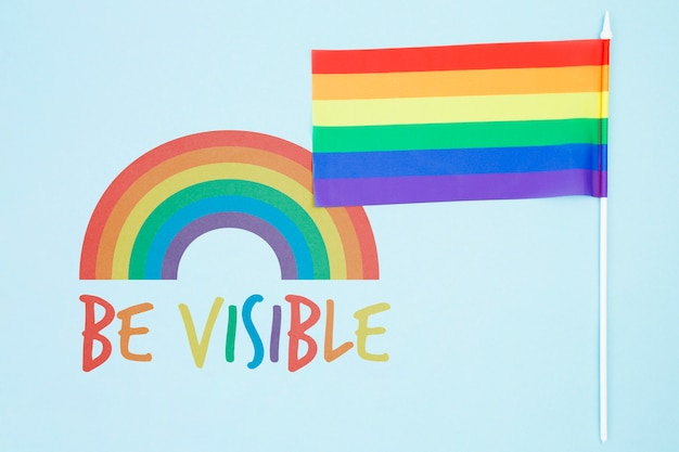 Gay pride background with the rainbow flag Free Psd