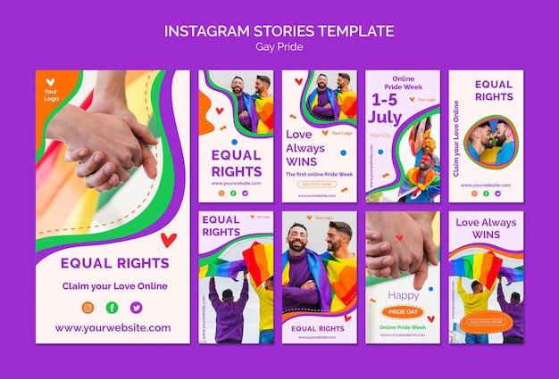 Gay pride instagram stories template Free Psd