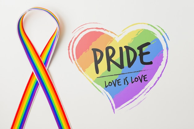 Gay pride mockup with ribbon Free Psd