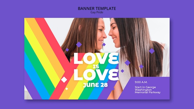 Gay prinde concept banner template Free Psd