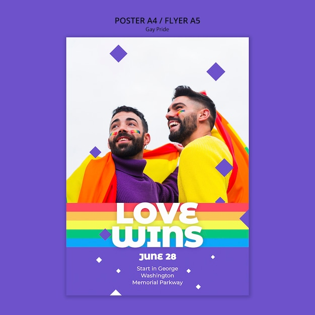 Gay prinde concept flyer template Free Psd