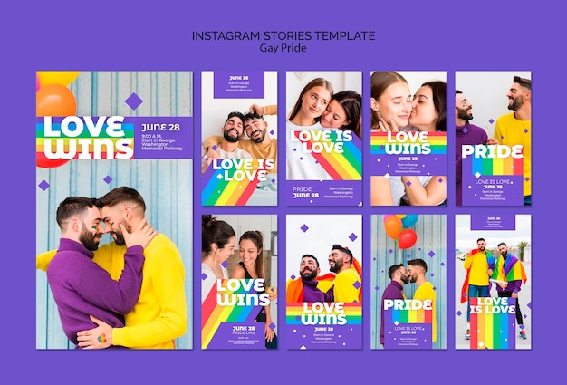 Gay prinde concept instagram stories template Free Psd