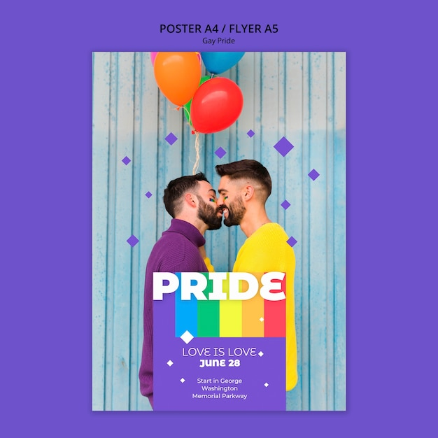 Gay prinde concept poster template Free Psd