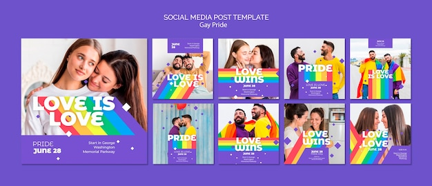 Gay prinde concept social media post template Free Psd