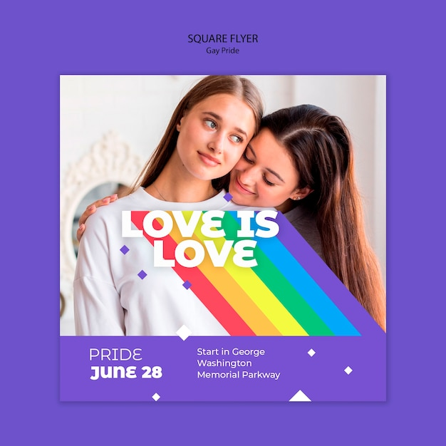 Gay prinde concept square flyer template Free Psd
