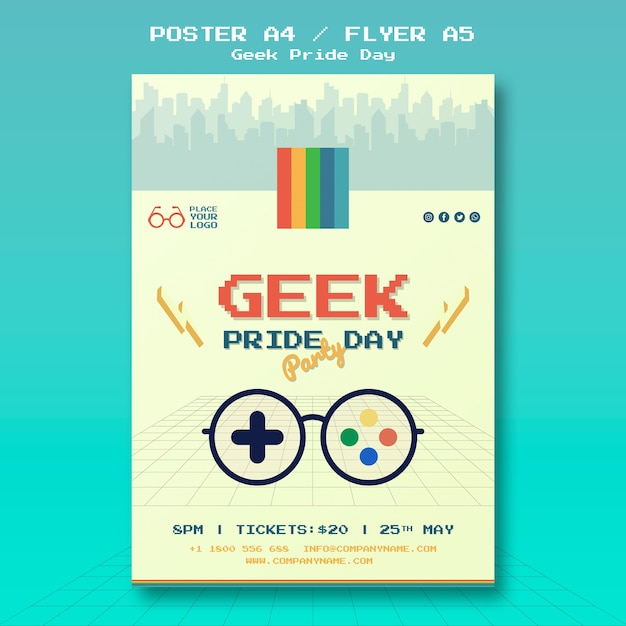 Geek pride day flyer template Free Psd
