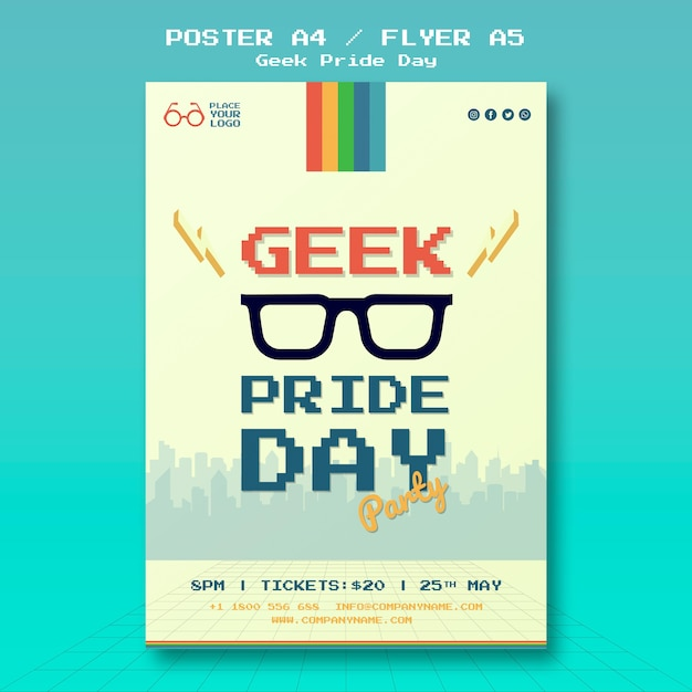Geek pride day poster template Free Psd