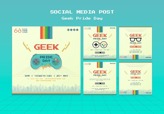 Geek pride day social media post Free Psd