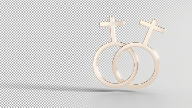 Gender identity symbols - female with female Premium Psd
