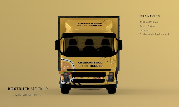 Generic big box truck car mockup front view Premium Psd