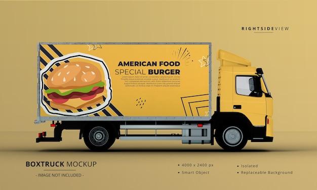 Универсальный грузовик с большим кузовом, вид справа Premium Psd