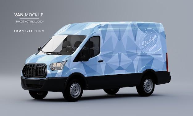 Generic utility van car mock up front left view of van mockup Premium Psd