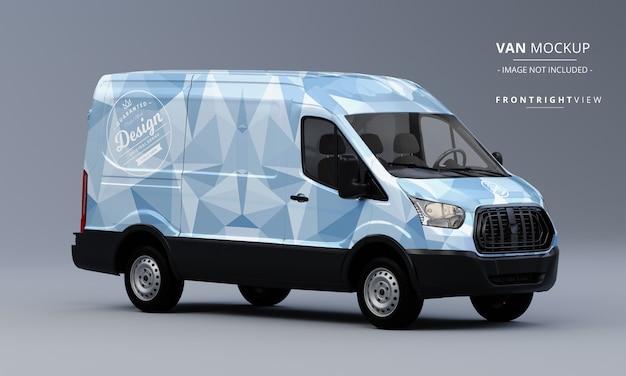 Generic utility van car mock up front right view of van mockup Premium Psd