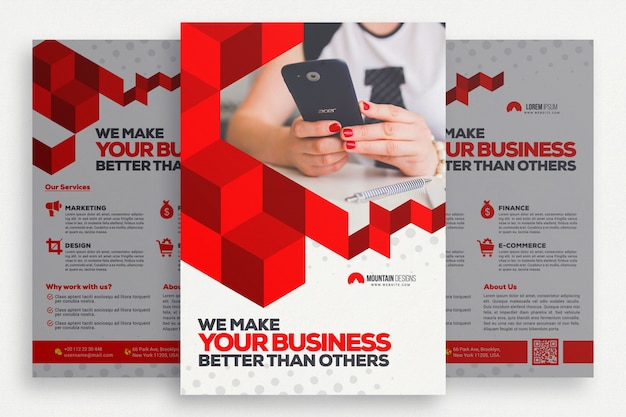 Geometric business brochure psd file free download for Meuble commercial