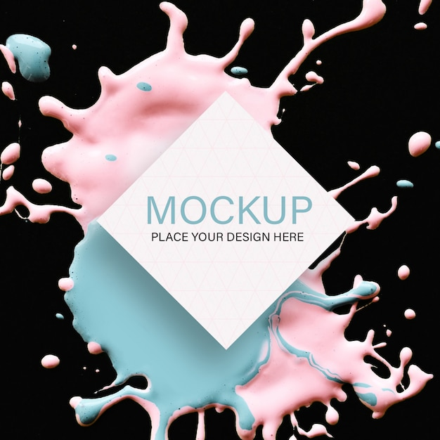Geometric mockup with pink and blue liquid color on black background Free Psd
