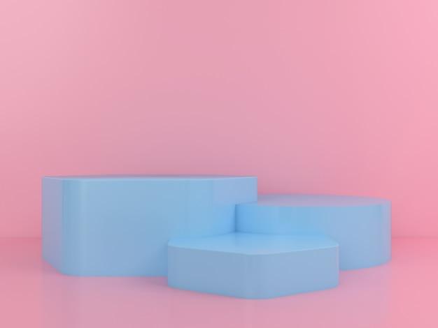 Геометрическая форма синий подиум макет дисплея Premium Psd