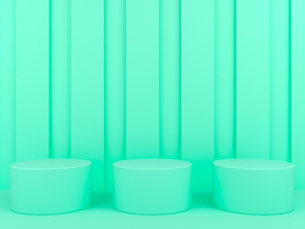 파스텔 배경 3d 렌더링에 기하학적 모양 녹색 연단 디스플레이 프리미엄 PSD 파일