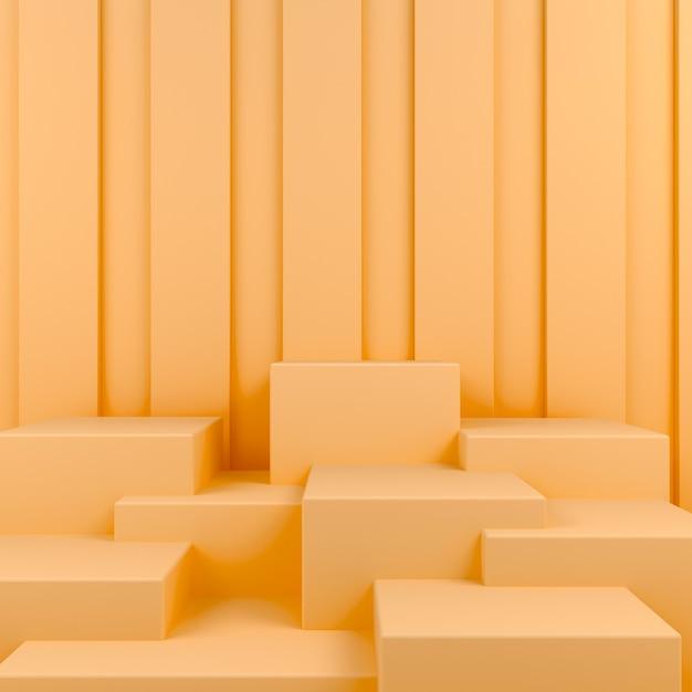 오렌지 파스텔 배경 모형에 기하학적 모양 연단 표시 프리미엄 PSD 파일
