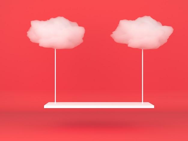 빨간색 파스텔 배경 모형에 기하학적 모양 흰 구름 연단 표시 프리미엄 PSD 파일