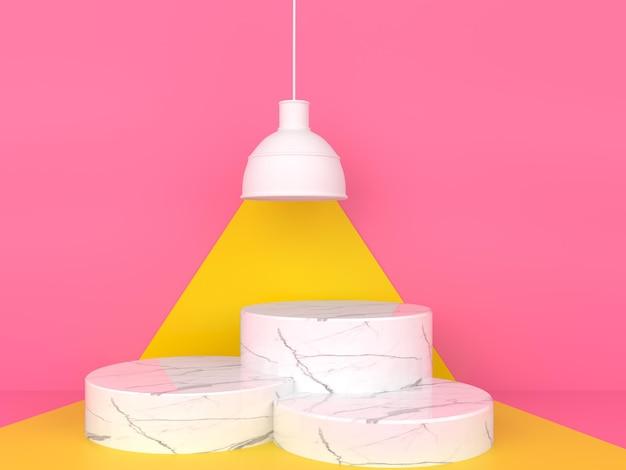 핑크 파스텔 배경 3d 렌더링에 기하학적 모양 흰색 대리석 연단 디스플레이 프리미엄 PSD 파일