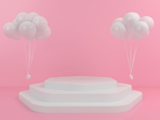 Геометрическая форма белый подиум дисплей воздушный шар макет Premium Psd