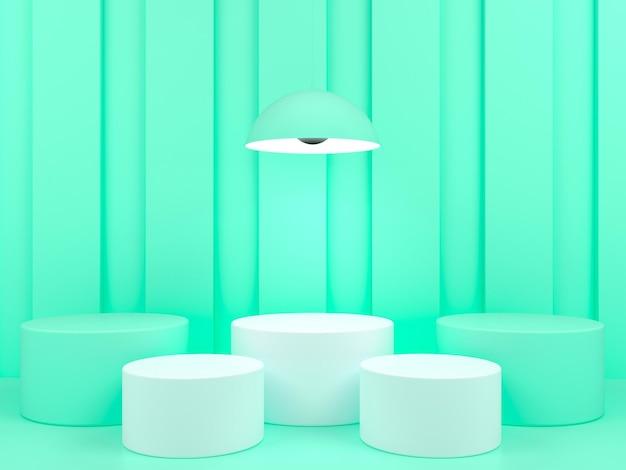 녹색 파스텔 배경 3d 렌더링에 기하학적 모양 흰색 연단 디스플레이 프리미엄 PSD 파일