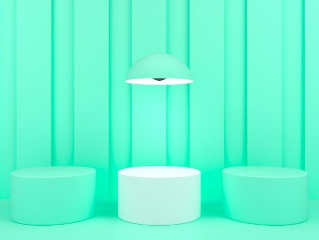 녹색 파스텔 배경 모형에 기하학적 모양 흰색 연단 표시 프리미엄 PSD 파일