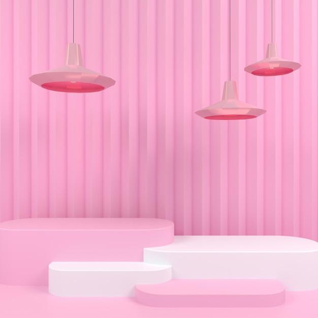 핑크 파스텔 배경 3d 렌더링에 기하학적 모양 흰색 연단 디스플레이 프리미엄 PSD 파일