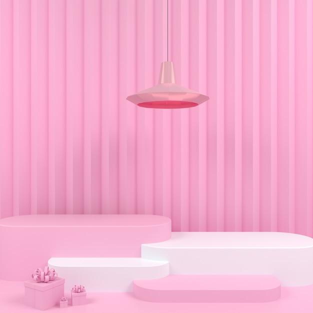 핑크 파스텔 배경 모형에 기하학적 모양 흰색 연단 표시 프리미엄 PSD 파일