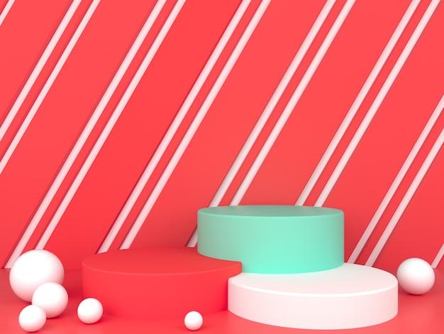 빨간색 파스텔 배경 모형에 기하학적 모양 흰색 연단 표시 프리미엄 PSD 파일