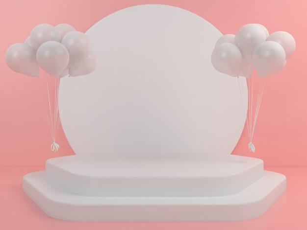 Геометрическая форма белый подиум дисплей макет Premium Psd