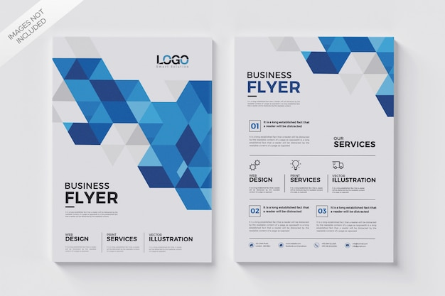 Geometric shapes flyer template, abstract brochure flyer Premium Psd