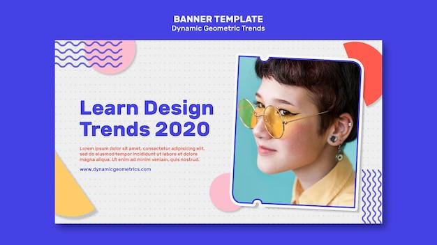 Tendenze geometriche nel modello di banner di design grafico con foto Psd Gratuite