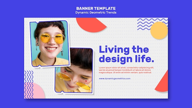 Geometric trends in graphic design banner with photo Free Psd