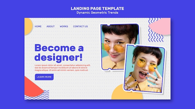 Geometric trends in graphic design landing page template with photo Free Psd