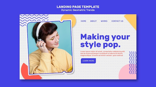 Geometric trends in graphic design landing page template Free Psd
