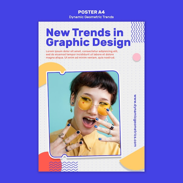 Geometric trends in graphic design poster template with photo Free Psd
