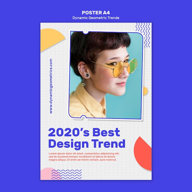 Geometric trends in graphic design poster Free Psd