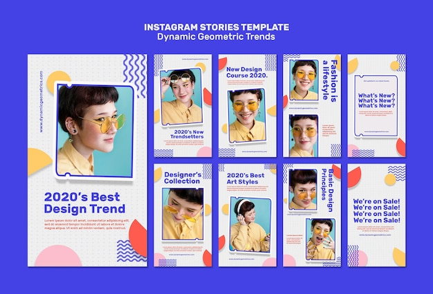Geometric trends in graphic design social media stories Free Psd