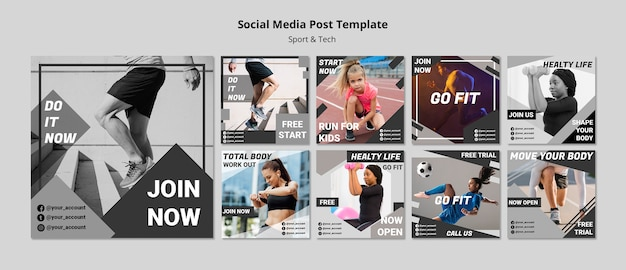 Get fit social media post template Free Psd