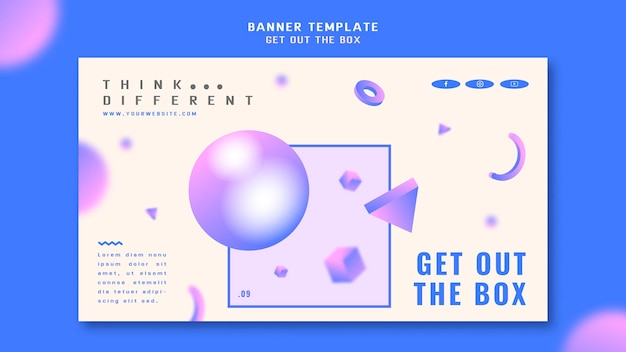 Get out the box concept banner template Free Psd