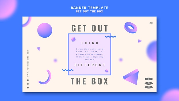 Get out the box concept banner template Premium Psd