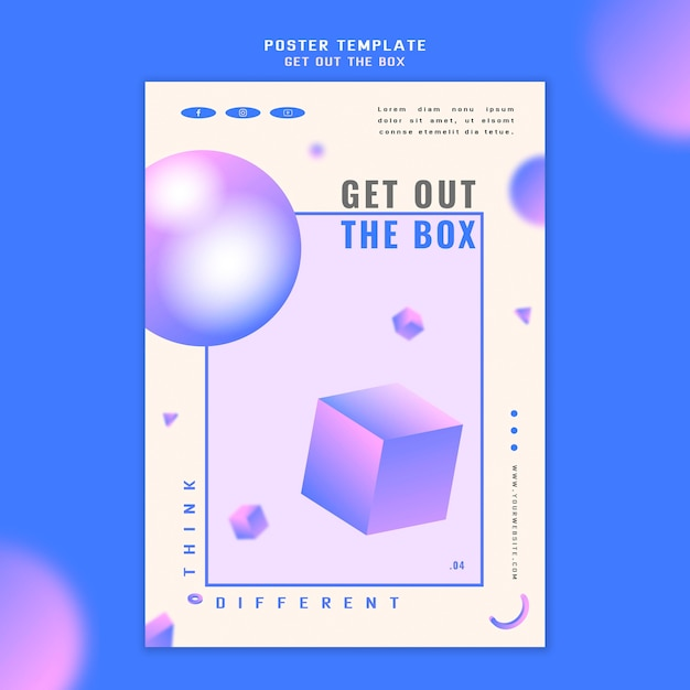 Get out the box concept poster template Premium Psd