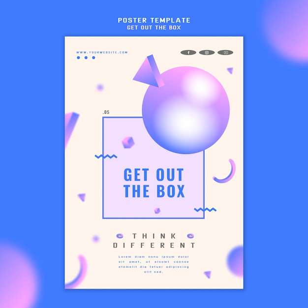 Get out the box concept poster template Free Psd