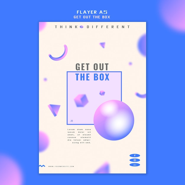 Get out the box flyer concept template Free Psd