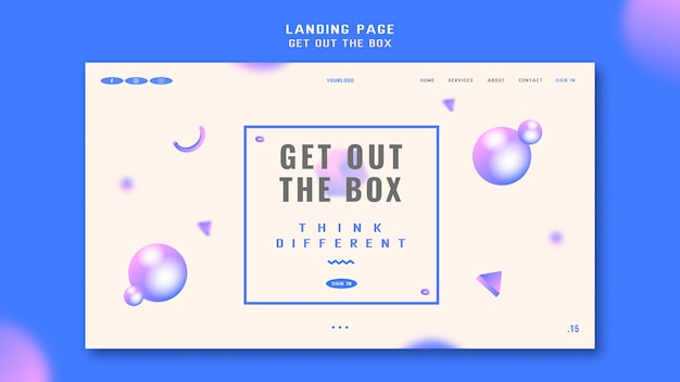 Get out the box landing page template Free Psd