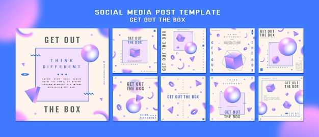 Get out the box social media post template Premium Psd